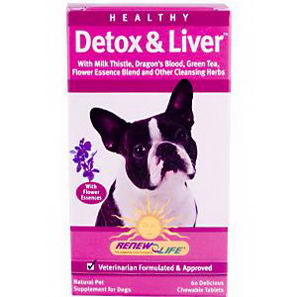 Renew Life, Healthy Detox & Liver for Dogs, 60 Delicious Chewable Tablets