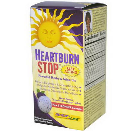 Renew Life, Heartburn Stop, Raspberry Flavor, 30 Chewable Tablets