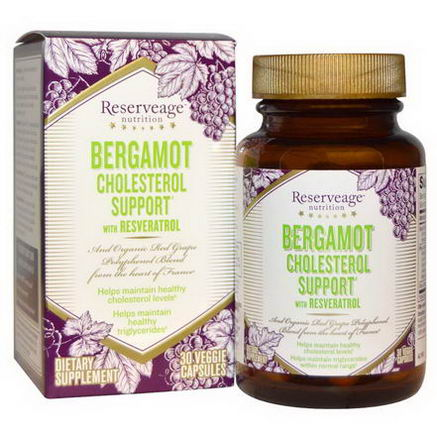 ReserveAge Organics, Bergamot Cholesterol Support with Resveratrol, 30 Veggie Caps