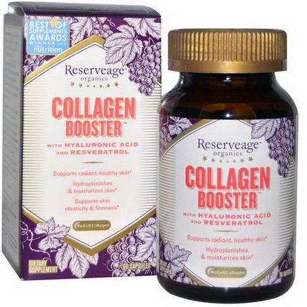 ReserveAge Organics, Collagen Booster with Hyaluronic Acid and Resveratrol, 60 Capsules