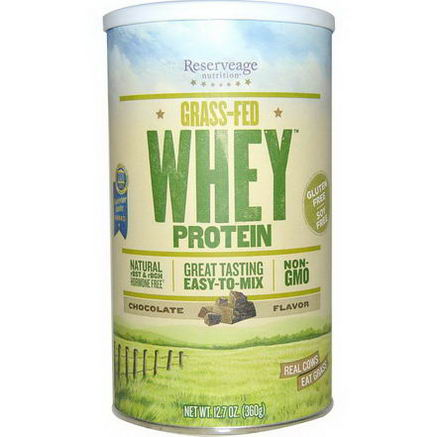 ReserveAge Organics, Grass-Fed Whey Protein, Chocolate Flavor, 12.7oz (360g)