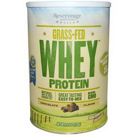 ReserveAge Organics, Grass-Fed Whey Protein, Chocolate Flavor, 25.4oz (720g)