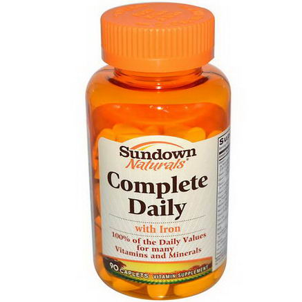 Rexall Sundown Naturals, Complete Daily with Iron, 90 Caplets