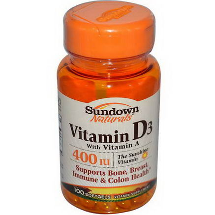 Rexall Sundown Naturals, Vitamin D3 with Vitamin A, 400 IU, 100 Softgels