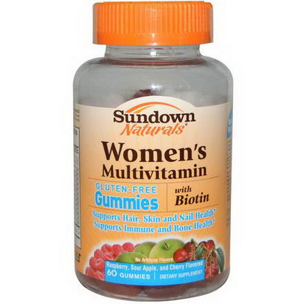 Rexall Sundown Naturals, Women's Multivitamin Gummies, Gluten Free, Raspberry, Sour Apple and Cherry Flavored, 60 Gummies