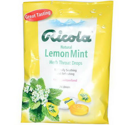 Ricola, Natural, Lemon Mint, Herb Throat Drops, 24 Drops