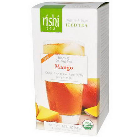 Rishi Tea, Organic Artisan Iced Tea, Black & Oolong Tea, Mango, 5 1-Quart Iced Tea Sachets, 1.76oz (50g)