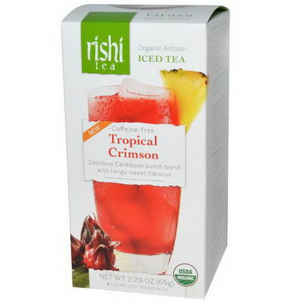 Rishi Tea, Organic Artisan Iced Tea, Tropical Crimson, Caffeine-Free, 5 1-Quart Iced Tea Sachets, 2.29oz (65g)