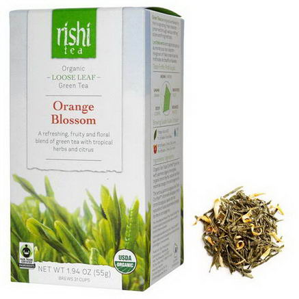 Rishi Tea, Organic Loose Leaf Green Tea, Orange Blossom, 1.94oz (55g)