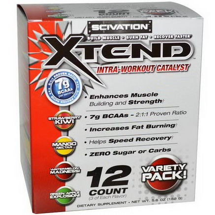 Scivation, Xtend, Intra Workout Catalyst, Variety Pack, 12 Count
