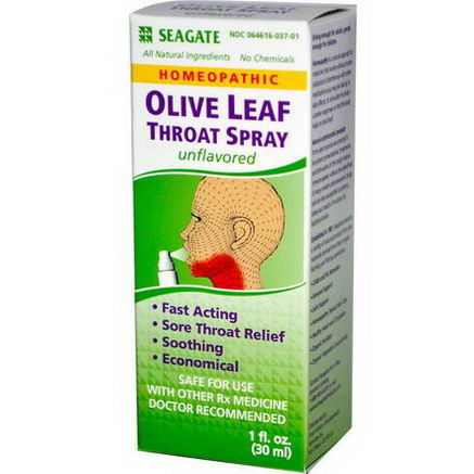 Seagate, Olive Leaf Throat Spray, Unflavored, 1 fl oz (30 ml)