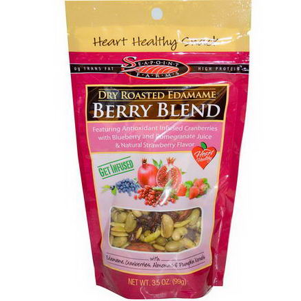 Seapoint Farms, Dry Roasted Edamame, Berry Blend, 3.5oz (99g)