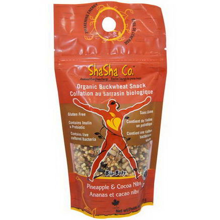 ShaSha Bread Co, Organic Buckwheat Snack, Pineapple & Cocoa Nibs, 170g