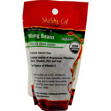 ShaSha Bread Co, Raw Organic Sprouted Mung Beans, 1 lb (454g)
