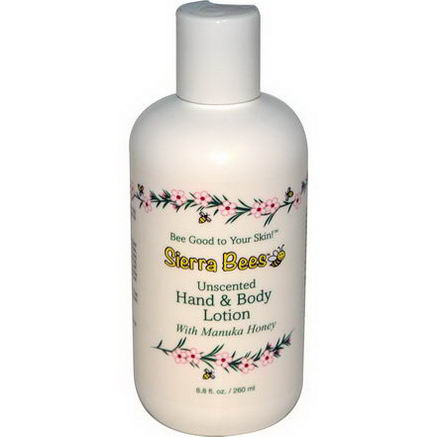 Sierra Bees, Hand & Body Lotion with Manuka Honey, Unscented, 8.8 fl oz (260 ml)
