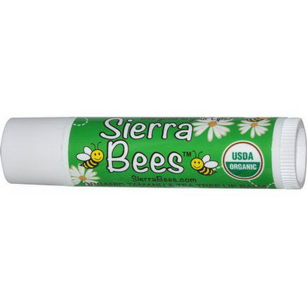 Sierra Bees, Organic Tamanu & Tea Tree Beeswax Lip Balm with Vitamin E, 15oz (4.25g)