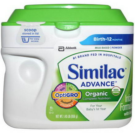 Similac, Advance, Organic Infant Formula with Iron, Powder, Birth to 12 Months, 1.45 lb (658g)