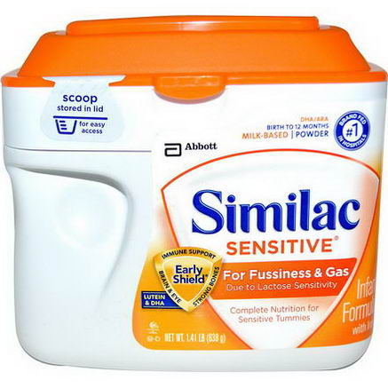 Similac, Sensitive, Infant Formula with Iron, Birth to 12 Months, 1.41 lb (638g)