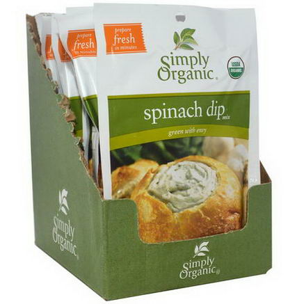 Simply Organic, Spinach Dip Mix, 12 Packets, 1.41oz (40g) Each