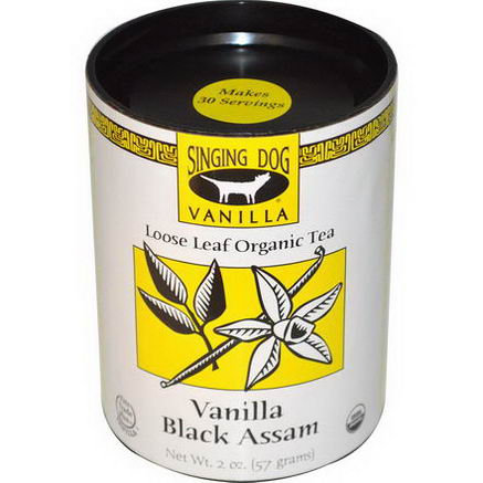 Singing Dog Vanilla, Loose Leaf Organic Tea, Vanilla Black Assam, 2oz (57g)
