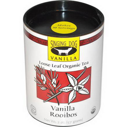 Singing Dog Vanilla, Loose Leaf Organic Tea, Vanilla Rooibos, Caffeine Free, 2oz (57g)