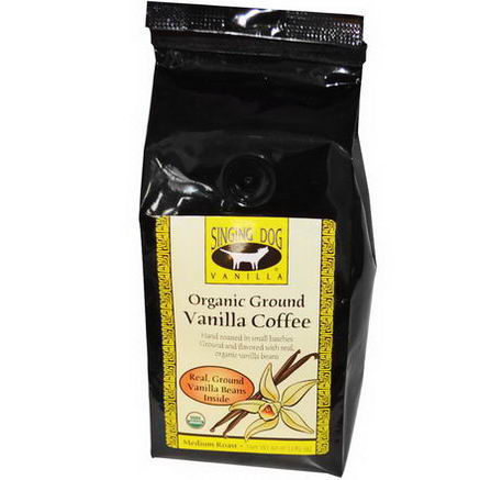 Singing Dog Vanilla, Organic Ground Vanilla Coffee, Medium Roast, 10oz (283.5g)