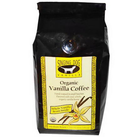 Singing Dog Vanilla, Organic Whole Bean Vanilla Coffee, Medium Roast, 10oz (283.5g)