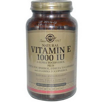 Solgar, Natural Vitamin E, 1000 IU, 100 Veggie Softgels