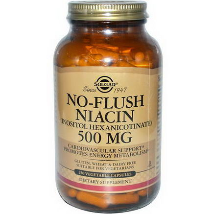 Solgar, No-Flush Niacin, 500mg, 250 Veggie Caps