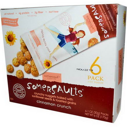 Somersaults, Sunflower Seed Snack, Cinnamon Crunch, 6 Packs, 1oz (30g) Each