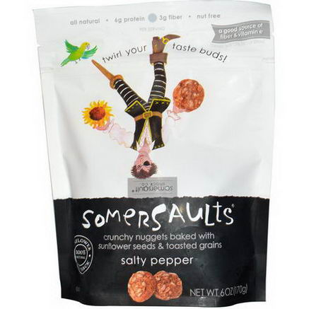 Somersaults, Sunflower Seed Snack, Salty Pepper, 6oz (170g)