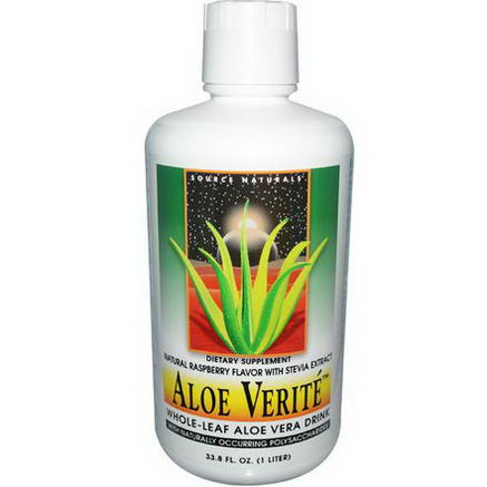 Source Naturals, Aloe Verite, Natural Raspberry Flavor, with Stevia Extract, 33.8 fl oz (1 L)