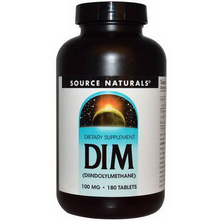 Source Naturals, DIM (Diindolylmethane), 100mg, 180 Tablets