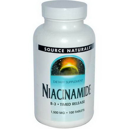 Source Naturals, Niacinamide, B-3, Timed Release, 1, 500mg, 100 Tablets
