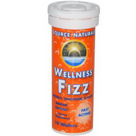 Source Naturals, Wellness Fizz, Natural Tangerine Flavor, 10 Wafers