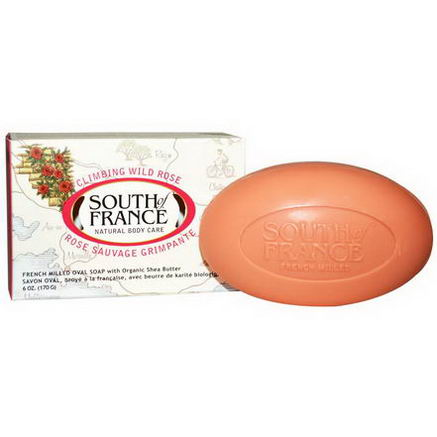 South of France, Climbing Wild Rose, French Milled Oval Soap with Organic Shea Butter, 6oz (170g)