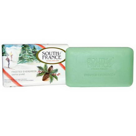 South of France, French Milled Soap, Frosted Evergreen, 3.5oz (99g)