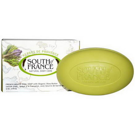 South of France, Herbes De Provence, French Milled Oval Soap with Organic Shea Butter, 6oz (170g)