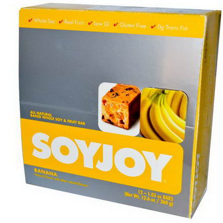 SoyJoy, All Natural Baked Whole Soy & Fruit Bar, Banana, 12 Bars, 1.05oz (30g) Each