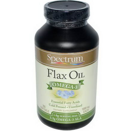 Spectrum Essentials, Flax Oil, Omega-3, 250 Softgels