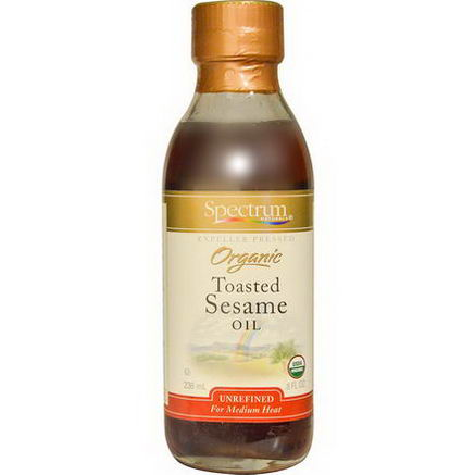 Spectrum Naturals, Organic Toasted Sesame Oil, Unrefined, 8 fl oz (236 ml)