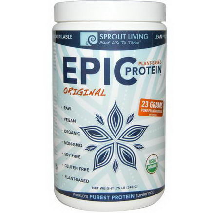 Sprout Living, Epic Protein, Original, 75 lb (340g)