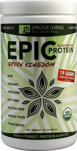Sprout Living, Epic Protein, Plant-Based, Green Kingdom, 75 lb (340g)