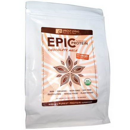 Sprout Living, Organic, Epic Protein, Chocolate Maca, 2.2 lb (1, 000g)