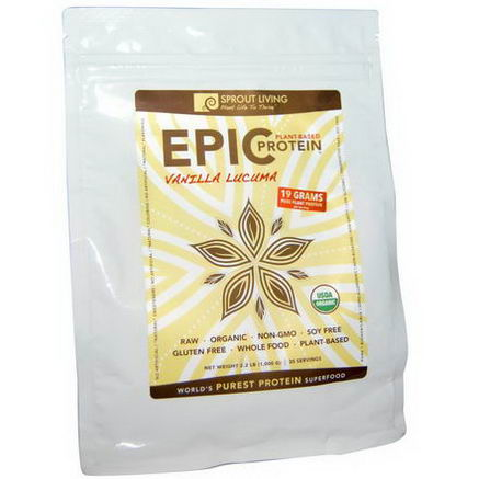 Sprout Living, Organic, Epic Protein, Vanilla Lucuma, 2.2 lb (1, 000g)
