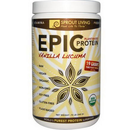 Sprout Living, Organic, Epic Protein, Vanilla Lucuma, 75 lb (340g)