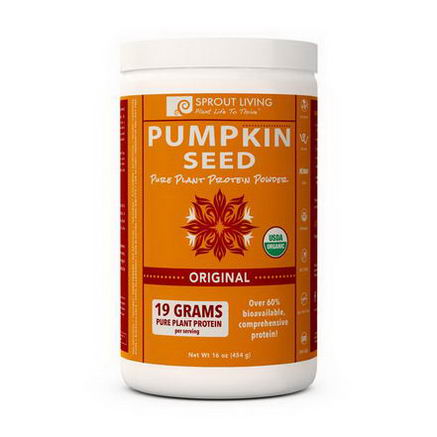 Sprout Living, Organic Pumpkin Seed, Pure Plant Protein Powder, Original, 16oz (454g)