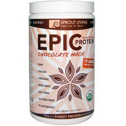 Sprout Living, Plant-Based Epic Protein, Chocolate Maca, 75 lb (340g)