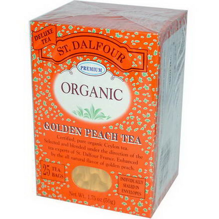 St. Dalfour, Organic, Golden Peach Tea, 25 Tea Bags, 1.75oz (50g)