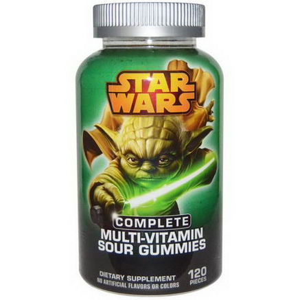 Star Wars, Complete Multi-Vitamin Sour Gummies, Sour Apple Flavor, 120 Pieces